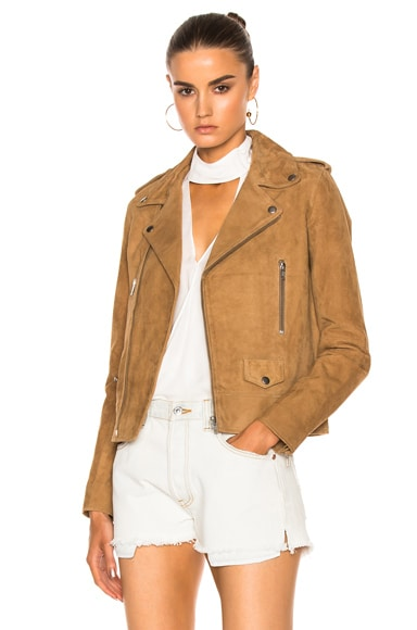 NICHOLAS Suede Zip Biker Jacket in Walnut