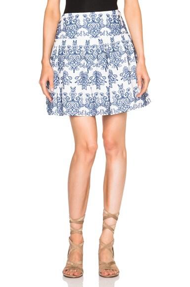 NICHOLAS Ruffle Mini Skirt in Blue & White