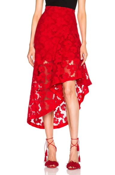 NICHOLAS Frill Panel Skirt in Hibiscus Red
