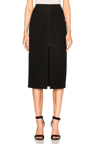 NICHOLAS Suede Split Front Skirt in Black