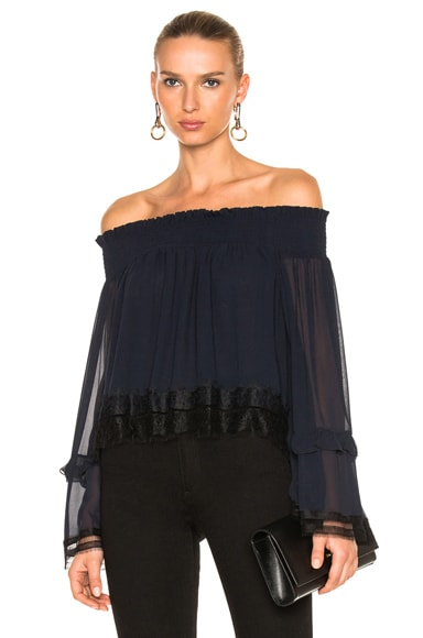 NICHOLAS Georgette Ruffle Off Shoulder Top in Navy