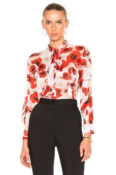NICHOLAS Poppy Floral Ruffle Top in Poppy Floral