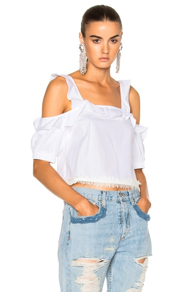 NICHOLAS Cotton Square Neck Top in Ivory