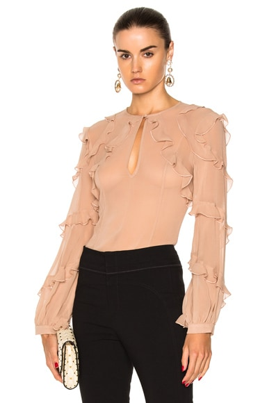 High Neck Ruffle Blouse