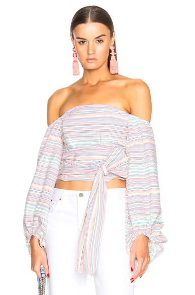 Rainbow Off Shoulder Wrap Top