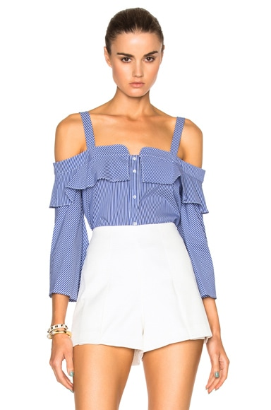 NICHOLAS Shoulder Band Top in Blue & White