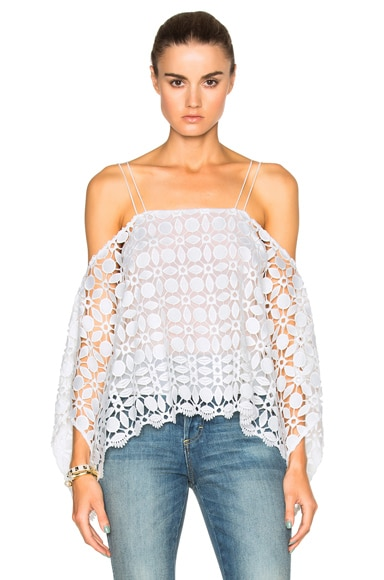NICHOLAS Mosaic Lace Square Top in White