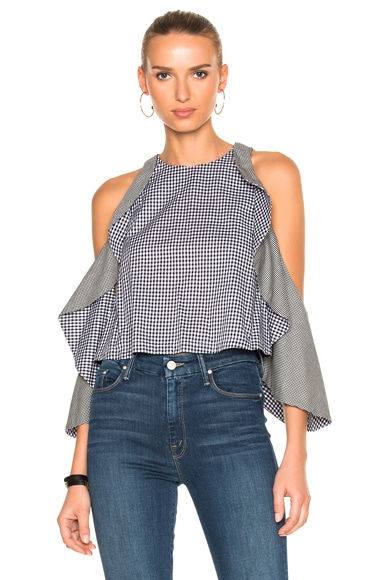 NICHOLAS Gingham Drape Sleeve Top in Black