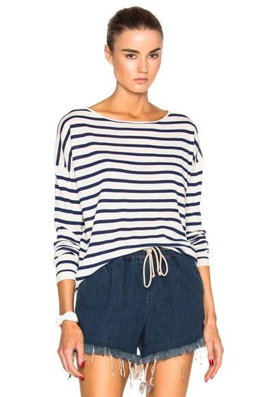 Nili Lotan Striped Crew Sweater in Ecru & Indigo