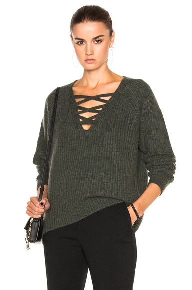 Nili Lotan Cashmere Alix Sweater in Army Green