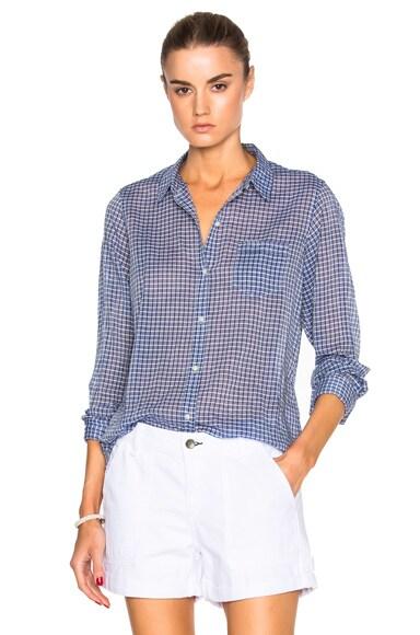 Nili Lotan Check Cotton Top in Blue & White