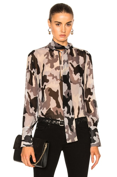 Nili Lotan Tie Neck Top in Camouflage Print