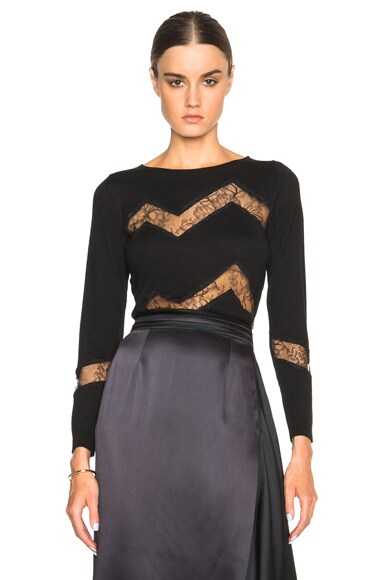 Nina Ricci Lace Insert Sweater in Black
