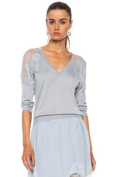 Embroidered Cashmere-Blend V-Neck Sweater