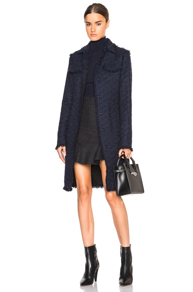 Nina Ricci Tweed Coat in Navy/Black