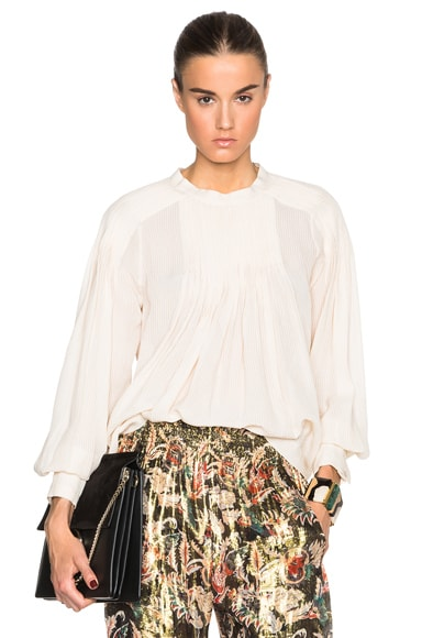 Nina Ricci Pleated Blouse in Peach
