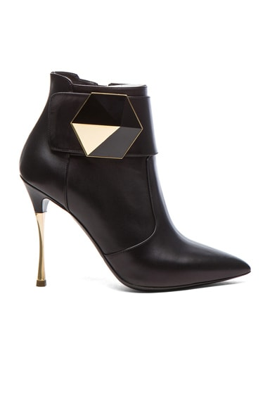 Geometric Leather Ankle Boots