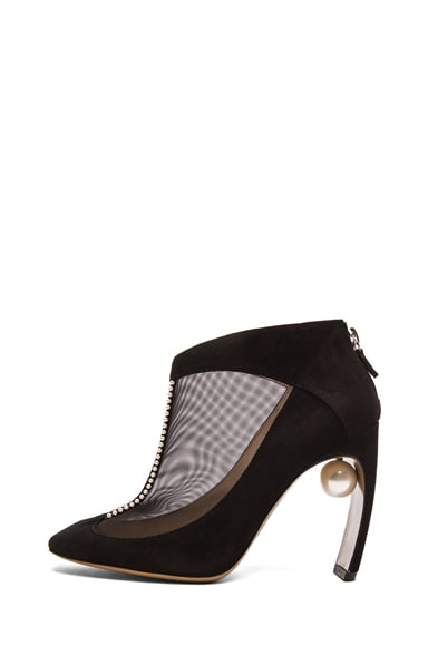 Suede & Net Ankle Boots with Pearl Detail
