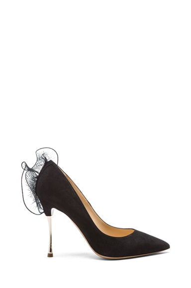 Suede Pumps with Ruffle Back