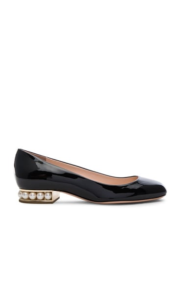 Nicholas Kirkwood Patent Leather Casati Pearl Ballerina Flats in Black