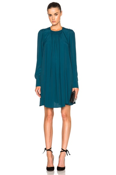 No. 21 Crepe De Chine Dress in Teal