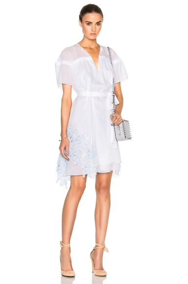 No. 21 Short Sleeve Lace Dress in White