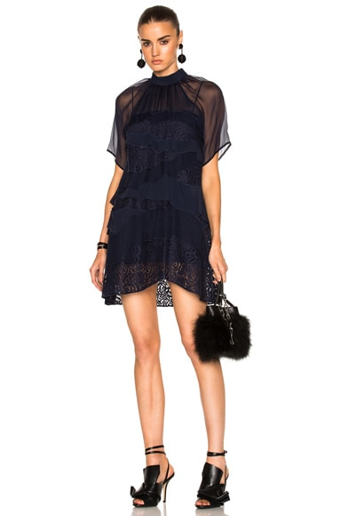 No. 21 Sheer Lace Mini Dress in Navy