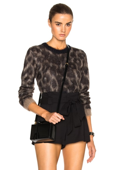 No. 21 Cropped Sweater in Leopard