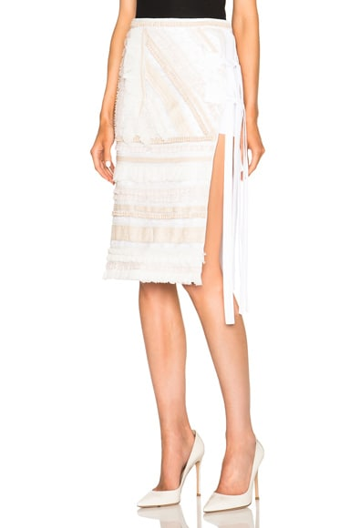 No. 21 Embroidered Skirt in Natural