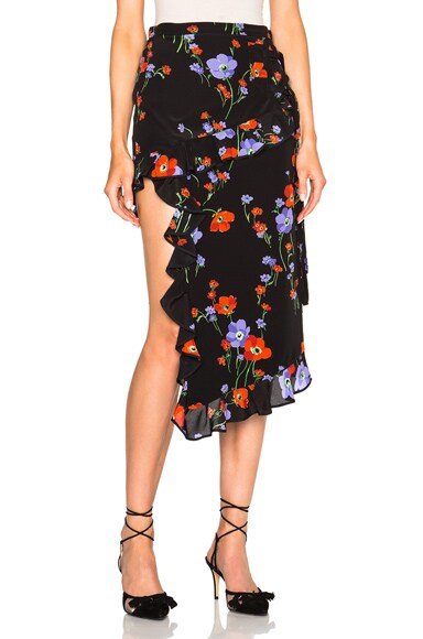 No. 21 Asymmetrical Skirt in Black Floral