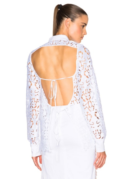 No. 21 Lace Open Back Top in White