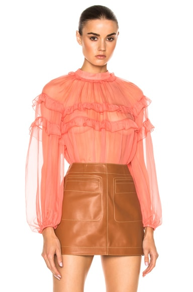 No. 21 Long Sleeve Ruffle Top in Corallo