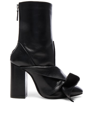 No. 21 Leather Bow Boots in Nero