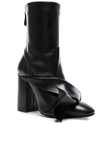 Leather Bow Boots