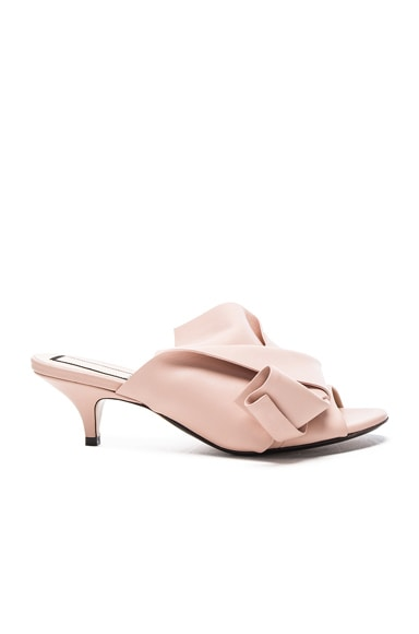 No. 21 Bow Kitten Heel Mule in Nude Leather
