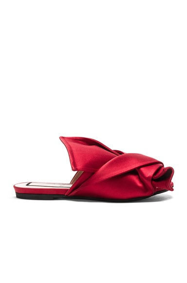 No. 21 Bow Satin Mules in Red