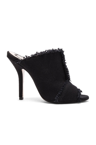 No. 21 Frayed Canvas Mules in Black