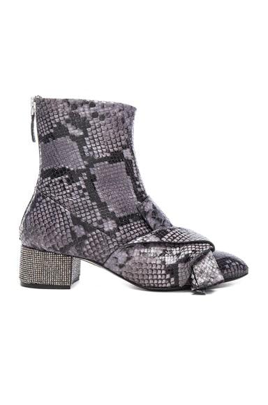 No. 21 Snakeskin Embossed Bow Booties in Diamond & Grey