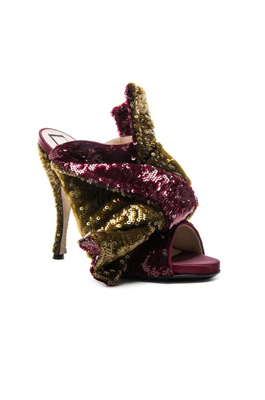 Sequin Embellished Bow Mules