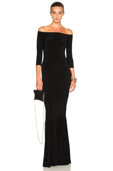 Norma Kamali Off Shoulder Fishtail Dress in Black
