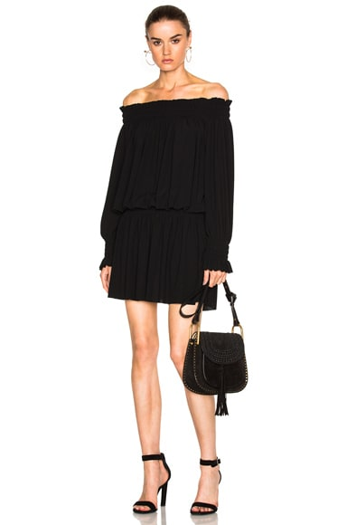 Norma Kamali Poly Jersey Peasant Dress in Black