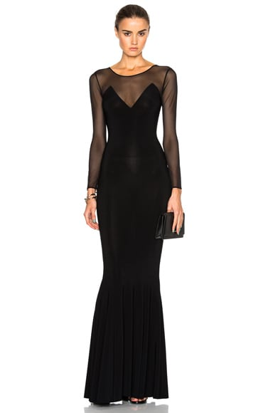 Norma Kamali Fishtail Dress in Black Mesh