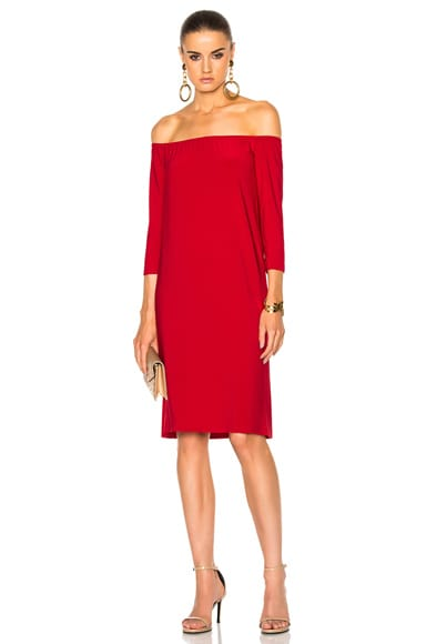 Norma Kamali Off The Shoulder Dress in Red
