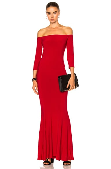 Norma Kamali Off Shoulder Fishtail Gown in Red