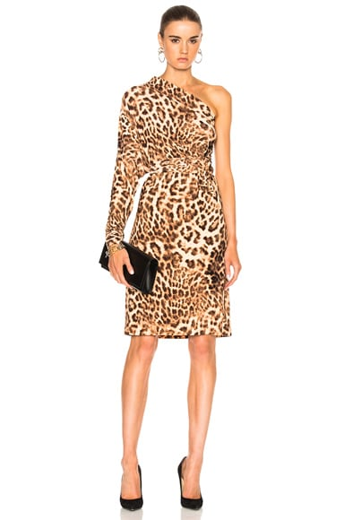 Norma Kamali All In One Dress in Caramel Leopard