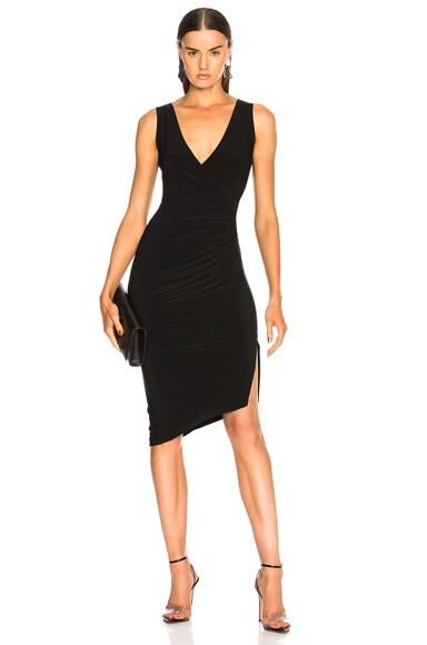 Sleeveless V Neck Side Drape Dress