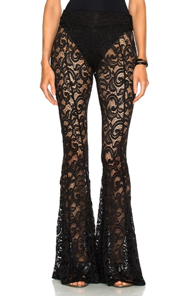 Norma Kamali Fishtail Pant in Black Lace