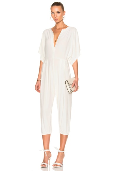 Norma Kamali Rectangle Jog Jumpsuit in Ivory