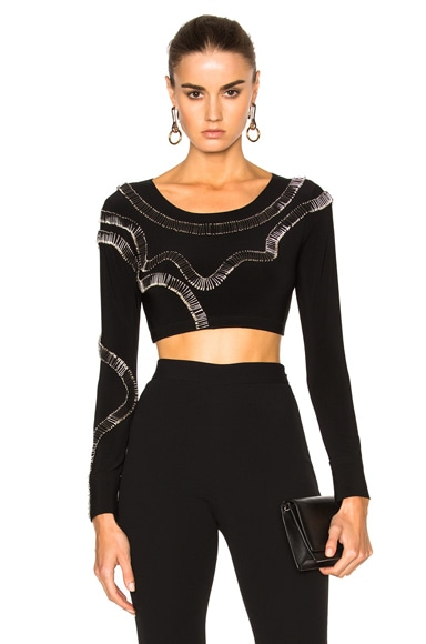 Norma Kamali for FWRD Safety Pins Cropped Top in Black
