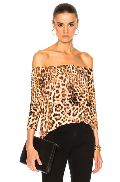 Norma Kamali Off Shoulder Top in Caramel Leopard